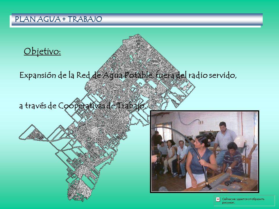 PLAN AGUA + TRABAJO Objetivo: Expansión de la Red de Agua Potable, fuera del radio servido, a través de Cooperativas de Trabajo.