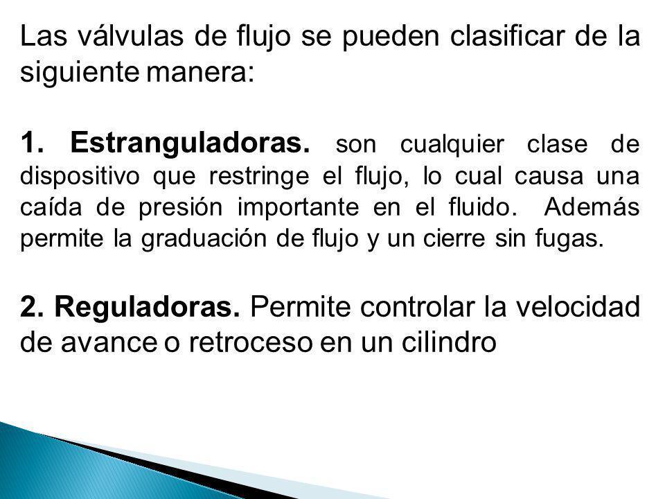 Las válvulas de flujo se pueden clasificar de la siguiente manera: