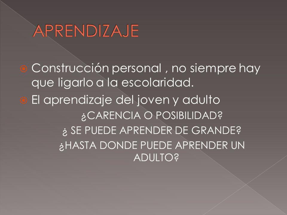 APRENDIZAJE Construcción personal , no siempre hay que ligarlo a la escolaridad. El aprendizaje del joven y adulto.