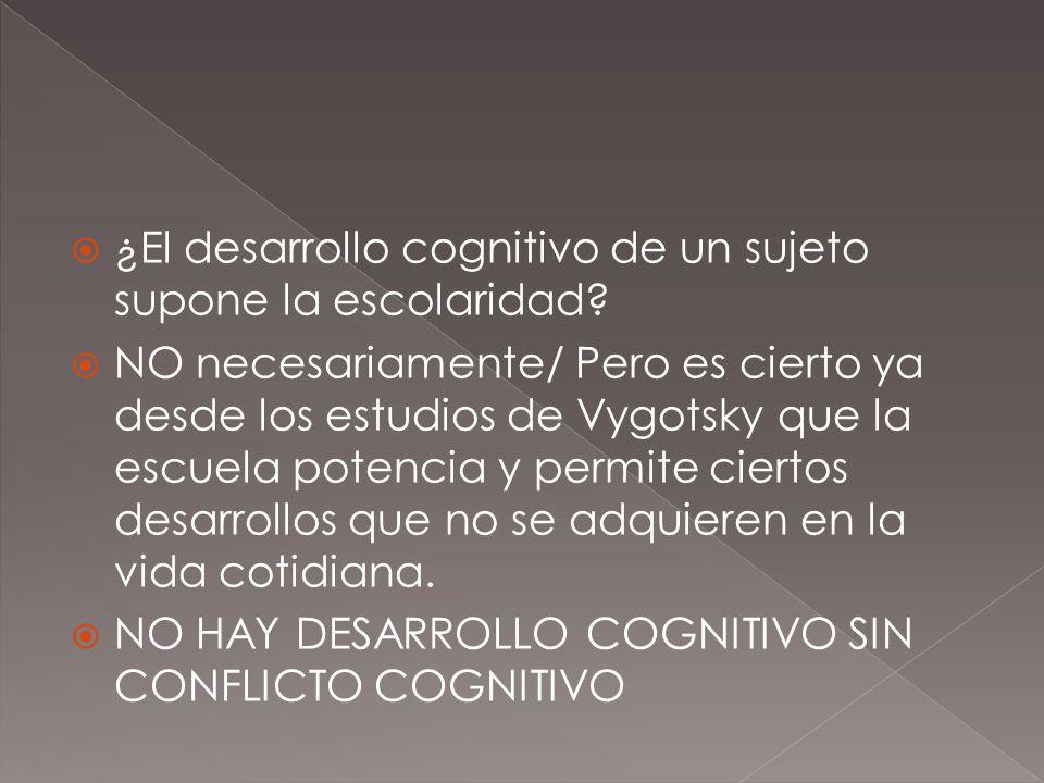 ¿El desarrollo cognitivo de un sujeto supone la escolaridad