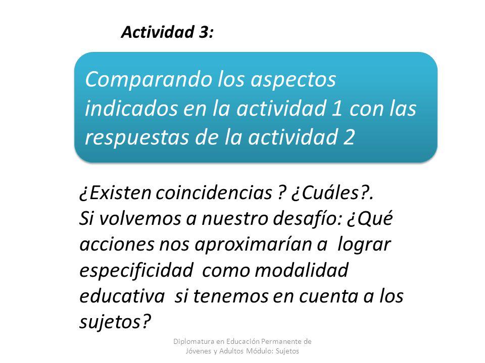 Actividad 3: Comparando los aspectos indicados en la actividad 1 con las respuestas de la actividad 2.