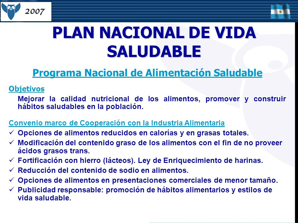 PLAN NACIONAL DE VIDA SALUDABLE