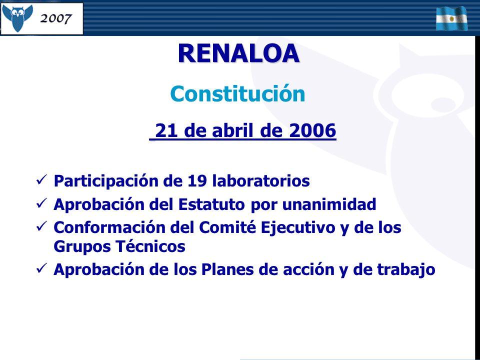 RENALOA Constitución 21 de abril de 2006