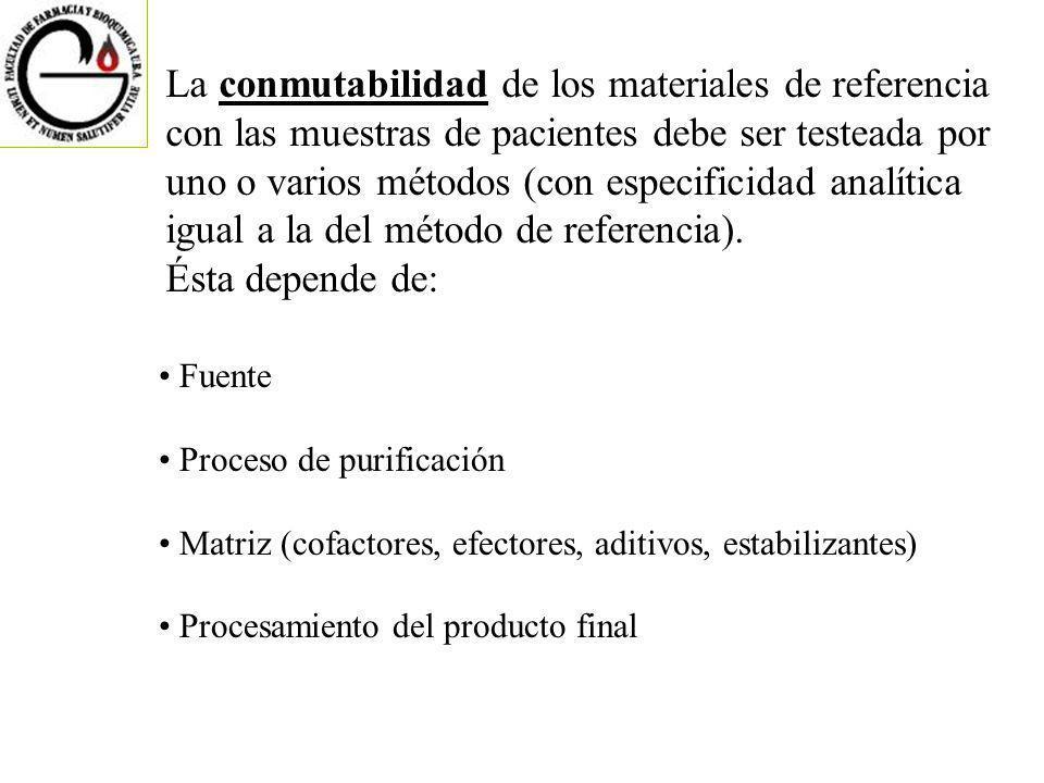 La conmutabilidad de los materiales de referencia con las muestras de pacientes debe ser testeada por uno o varios métodos (con especificidad analítica igual a la del método de referencia).