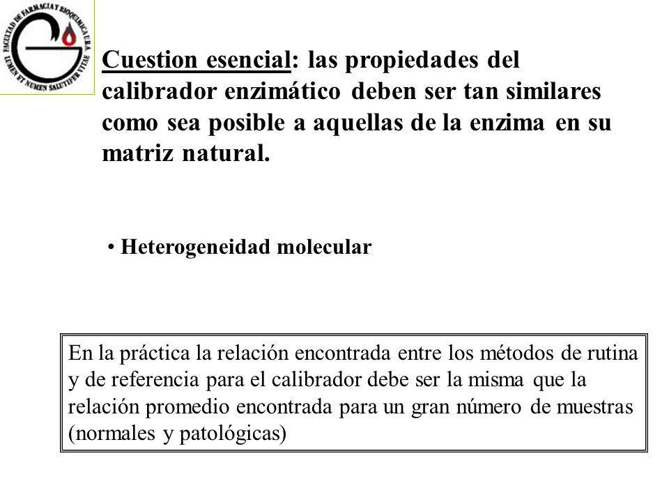 Cuestion esencial: las propiedades del calibrador enzimático deben ser tan similares como sea posible a aquellas de la enzima en su matriz natural.