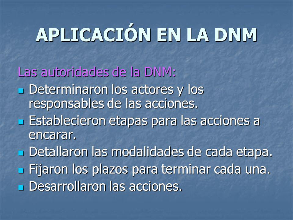 APLICACIÓN EN LA DNM Las autoridades de la DNM: