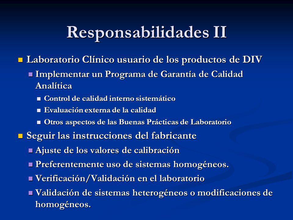 Responsabilidades II Laboratorio Clínico usuario de los productos de DIV. Implementar un Programa de Garantía de Calidad Analítica.