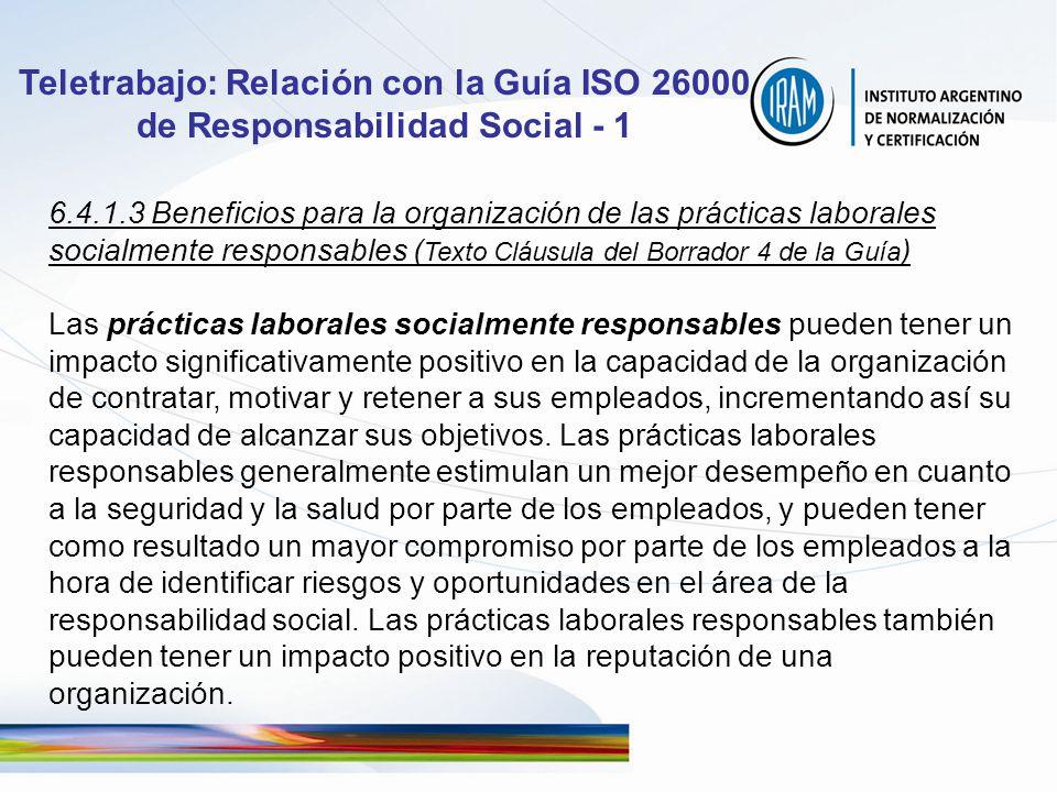 Teletrabajo: Relación con la Guía ISO 26000 de Responsabilidad Social - 1