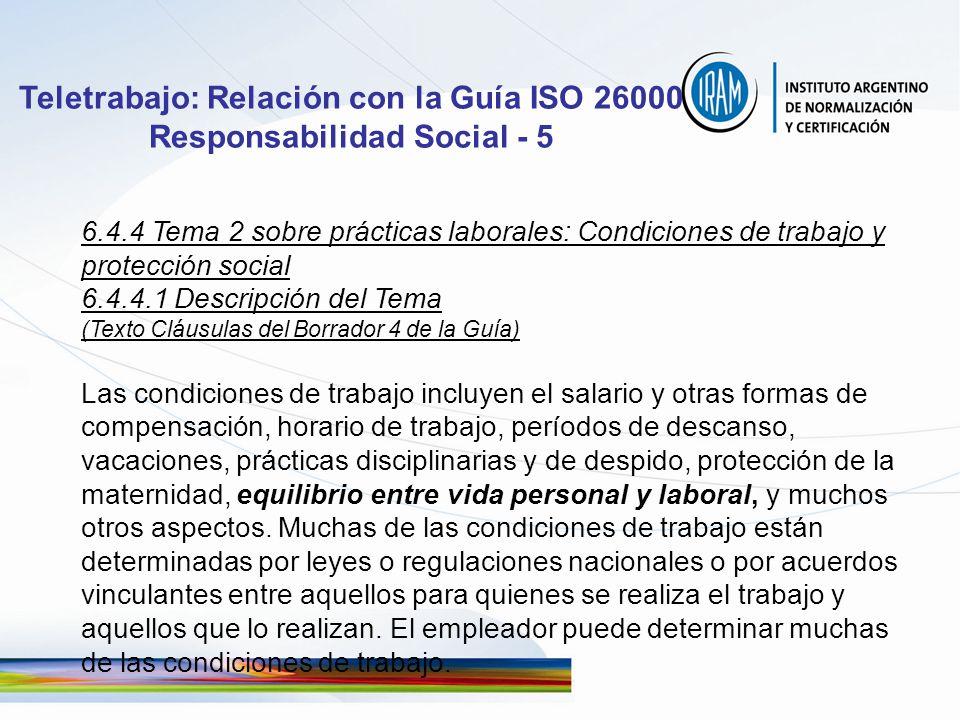 Teletrabajo: Relación con la Guía ISO 26000 Responsabilidad Social - 5