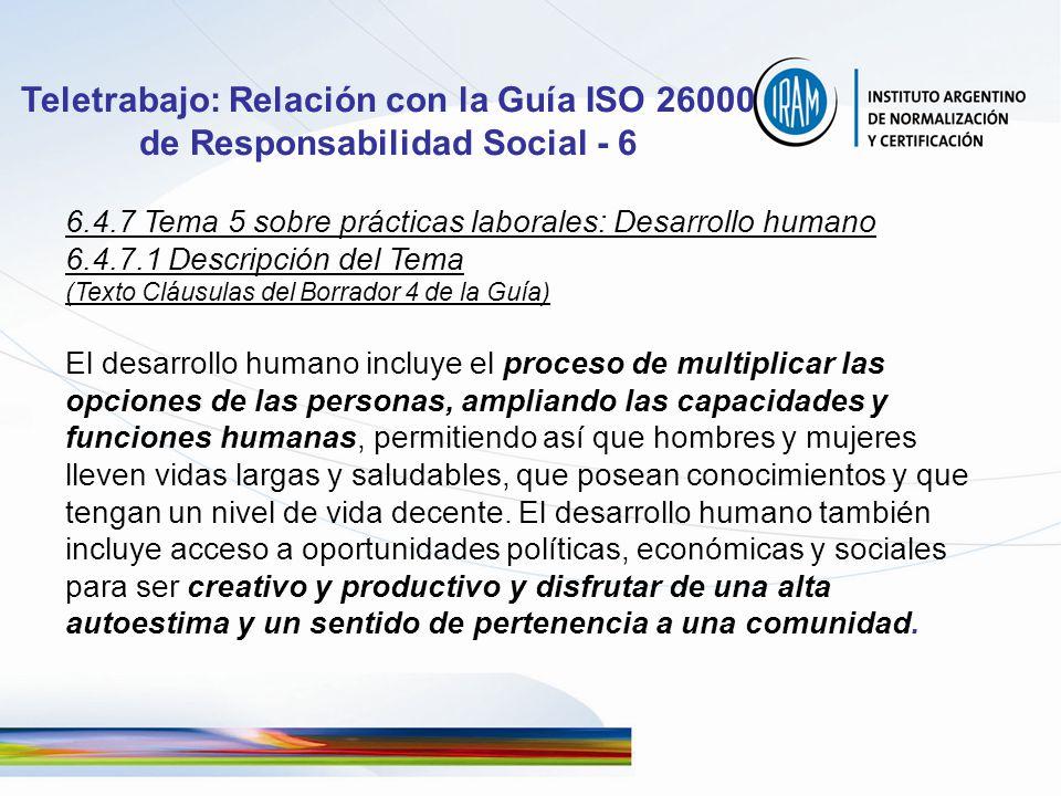 Teletrabajo: Relación con la Guía ISO 26000 de Responsabilidad Social - 6