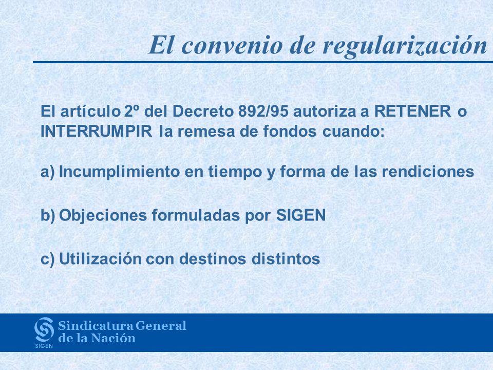 El convenio de regularización