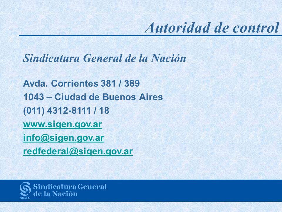 Autoridad de control Sindicatura General de la Nación