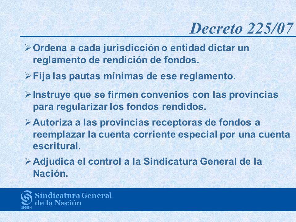 Decreto 225/07 Ordena a cada jurisdicción o entidad dictar un reglamento de rendición de fondos. Fija las pautas mínimas de ese reglamento.
