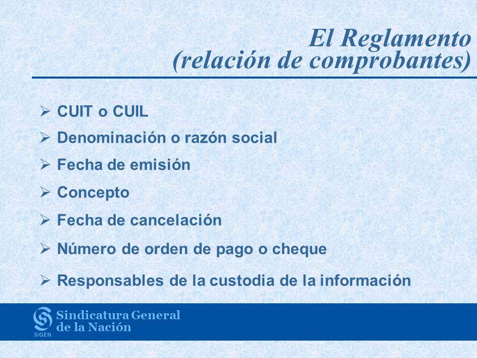 El Reglamento (relación de comprobantes)