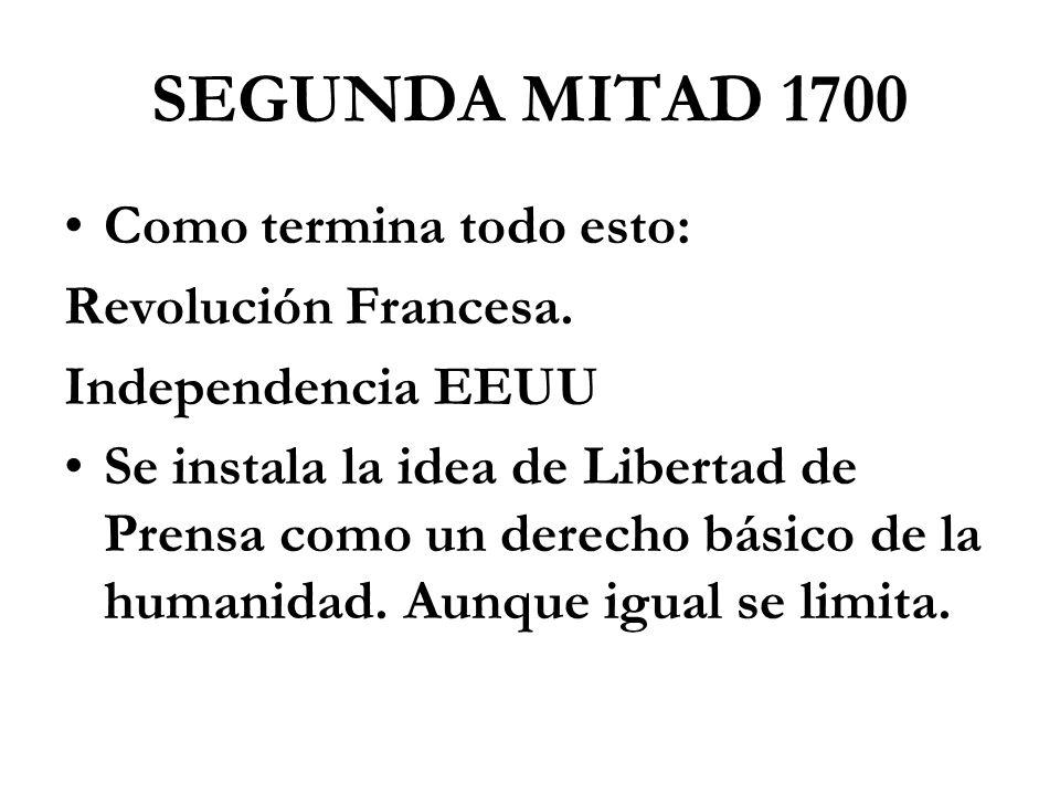 SEGUNDA MITAD 1700 Como termina todo esto: Revolución Francesa.