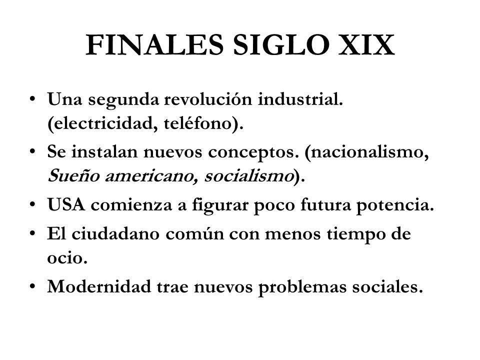 FINALES SIGLO XIX Una segunda revolución industrial. (electricidad, teléfono).