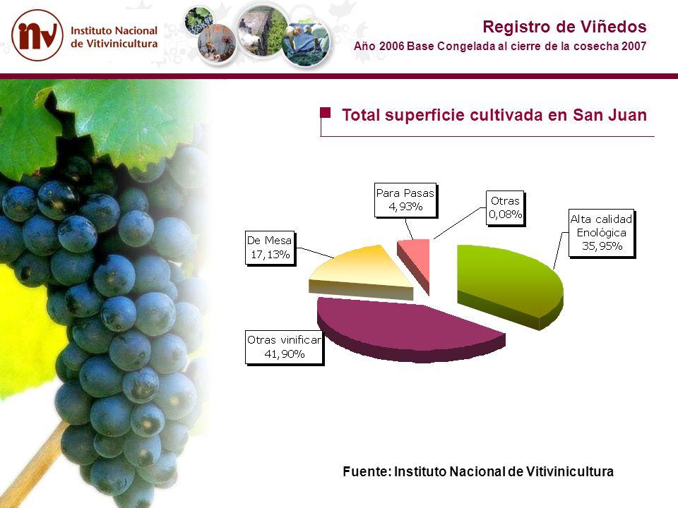 Total superficie cultivada en San Juan