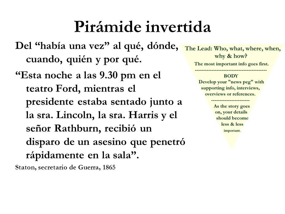 Pirámide invertida Del había una vez al qué, dónde, cuando, quién y por qué.