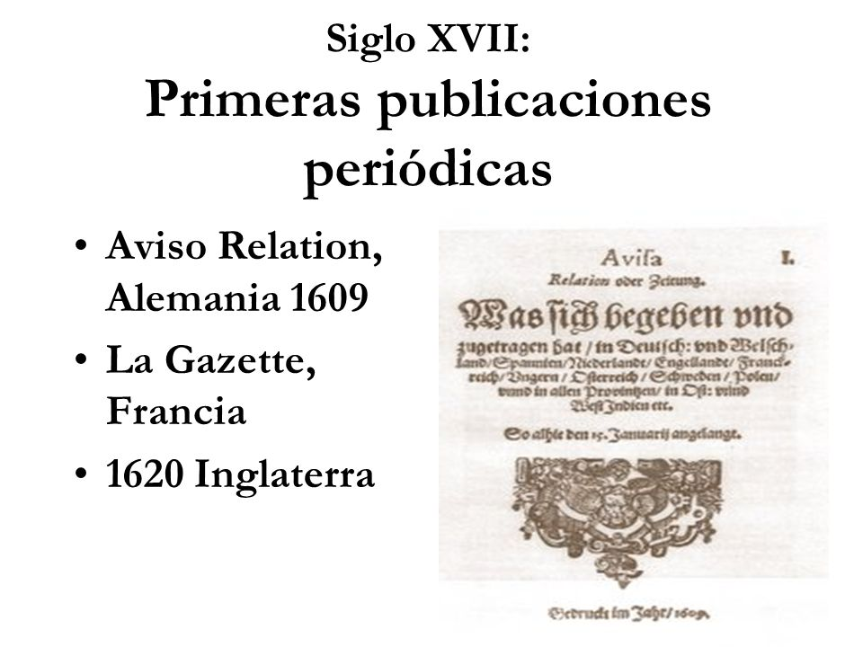 Siglo XVII: Primeras publicaciones periódicas