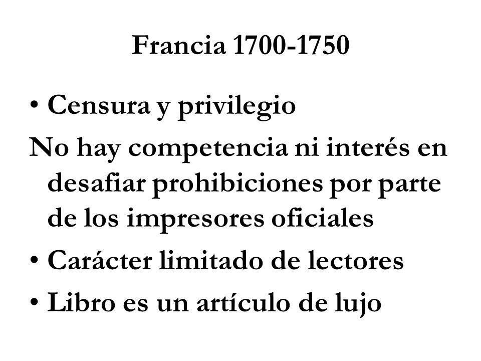 Francia 1700-1750 Censura y privilegio. No hay competencia ni interés en desafiar prohibiciones por parte de los impresores oficiales.
