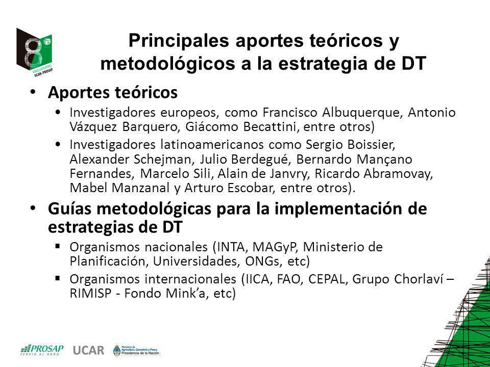 Principales aportes teóricos y metodológicos a la estrategia de DT