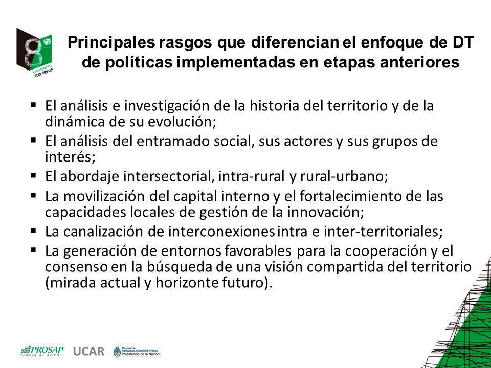 Principales rasgos que diferencian el enfoque de DT de políticas implementadas en etapas anteriores