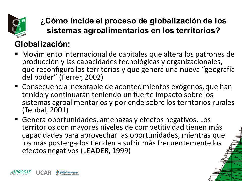 ¿Cómo incide el proceso de globalización de los sistemas agroalimentarios en los territorios