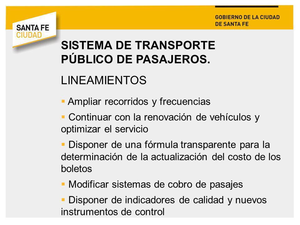 SISTEMA DE TRANSPORTE PÚBLICO DE PASAJEROS. LINEAMIENTOS