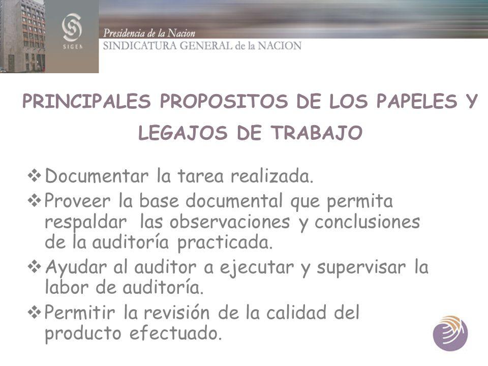 PRINCIPALES PROPOSITOS DE LOS PAPELES Y LEGAJOS DE TRABAJO