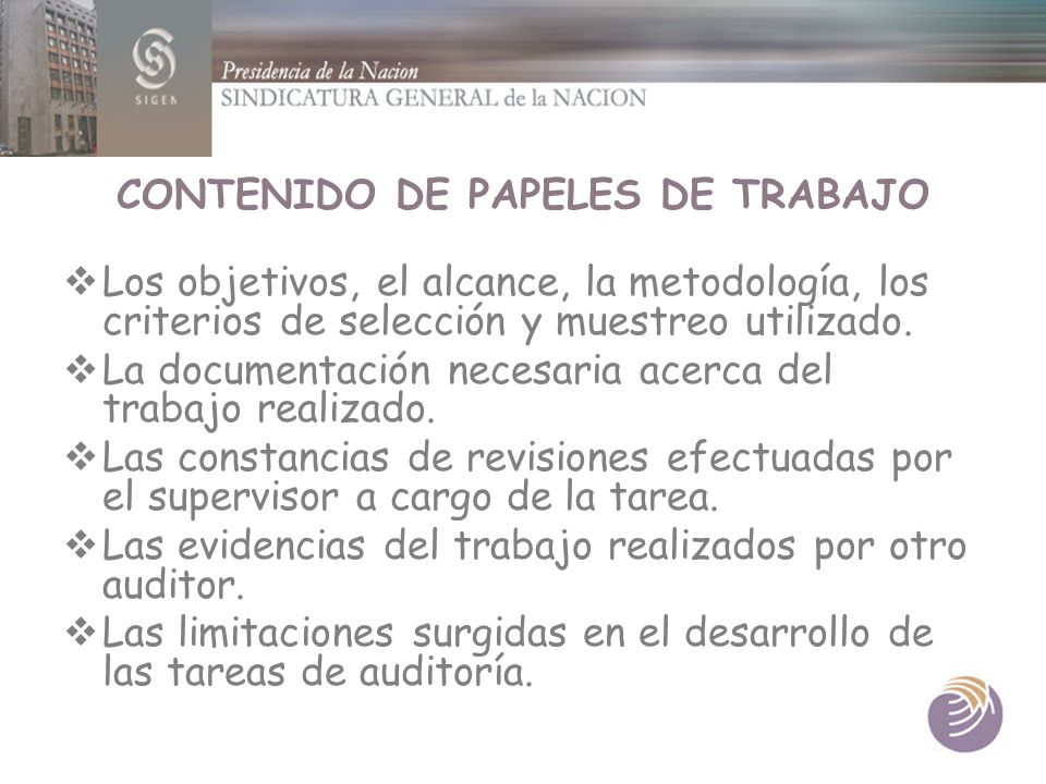 CONTENIDO DE PAPELES DE TRABAJO