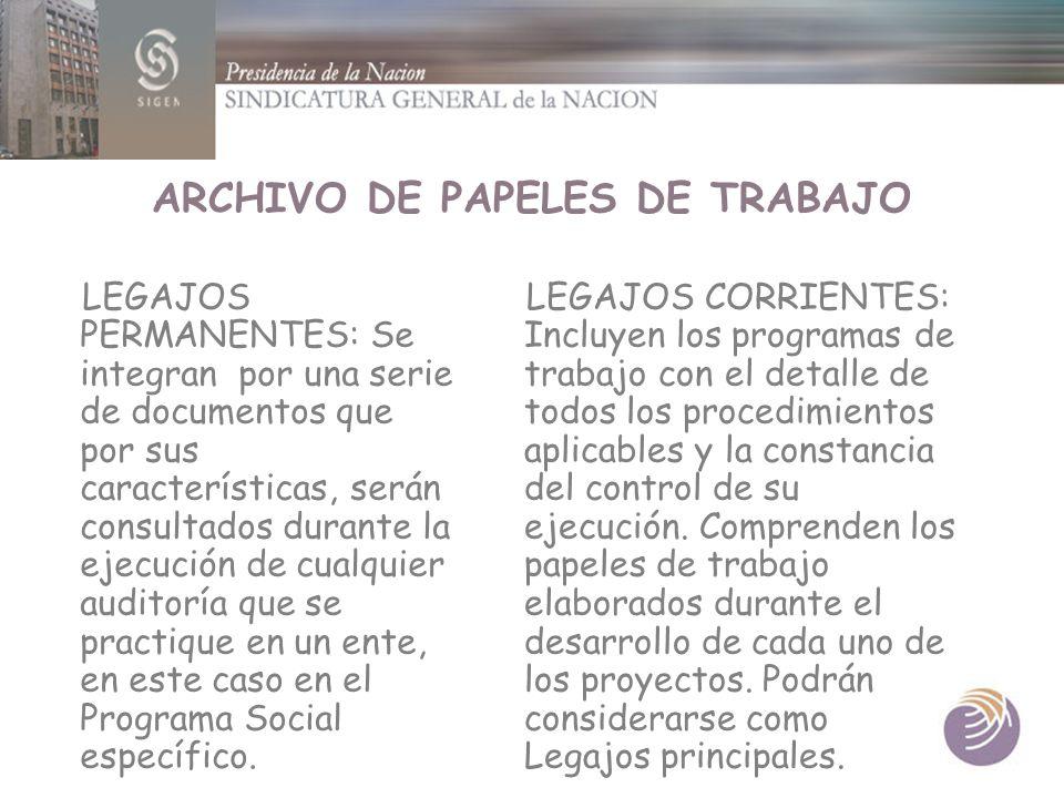ARCHIVO DE PAPELES DE TRABAJO