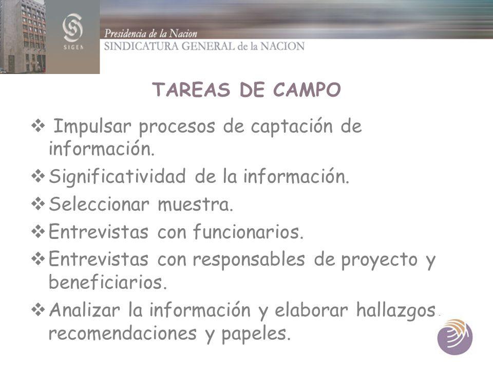 TAREAS DE CAMPO Impulsar procesos de captación de información. Significatividad de la información.