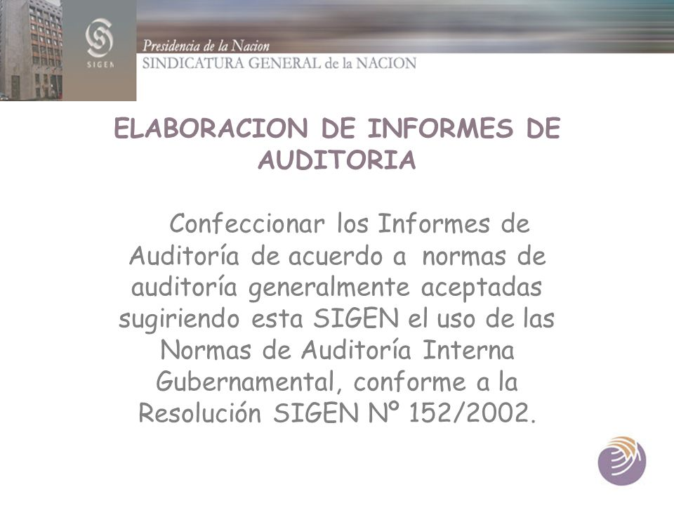 ELABORACION DE INFORMES DE AUDITORIA
