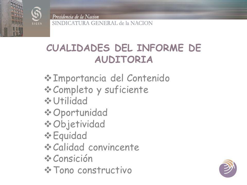 CUALIDADES DEL INFORME DE AUDITORIA