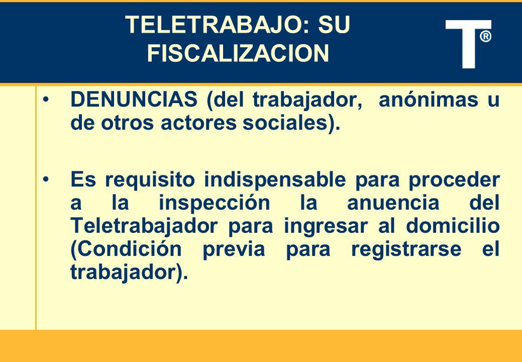 TELETRABAJO: SU FISCALIZACION