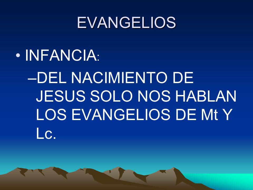 EVANGELIOS INFANCIA: DEL NACIMIENTO DE JESUS SOLO NOS HABLAN LOS EVANGELIOS DE Mt Y Lc.