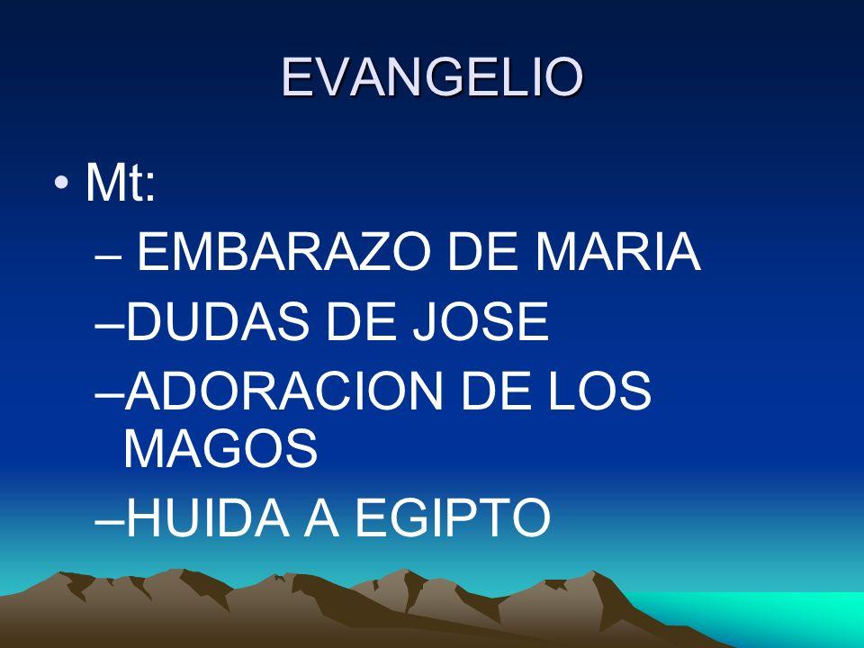 EVANGELIO Mt: DUDAS DE JOSE ADORACION DE LOS MAGOS HUIDA A EGIPTO