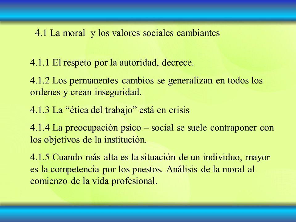 4.1 La moral y los valores sociales cambiantes
