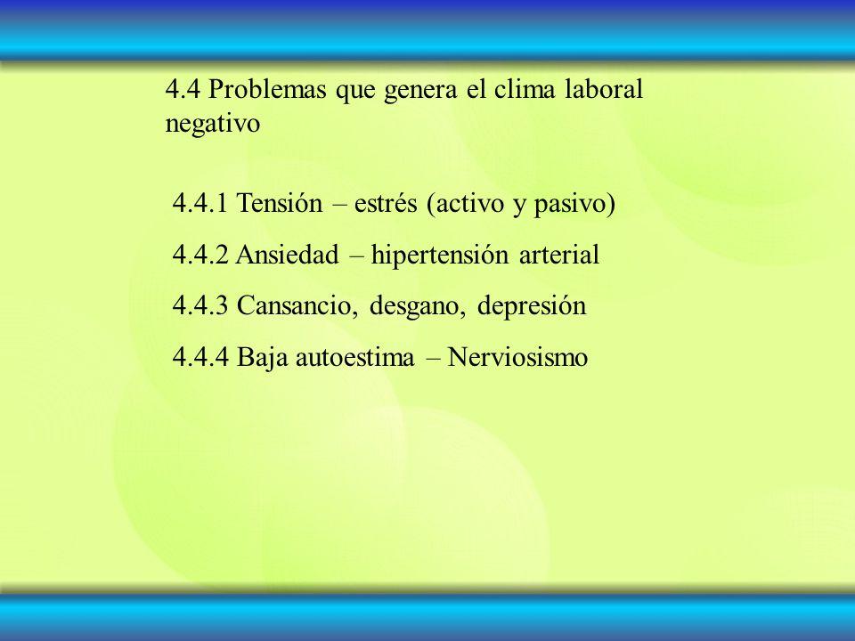 4.4 Problemas que genera el clima laboral negativo