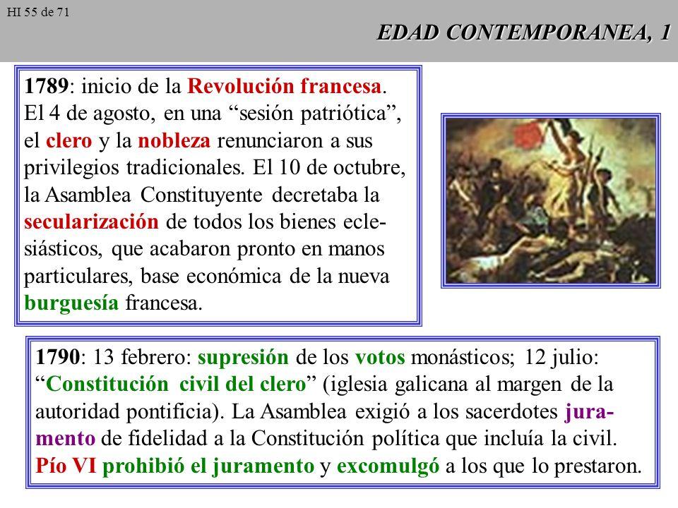 1789: inicio de la Revolución francesa.