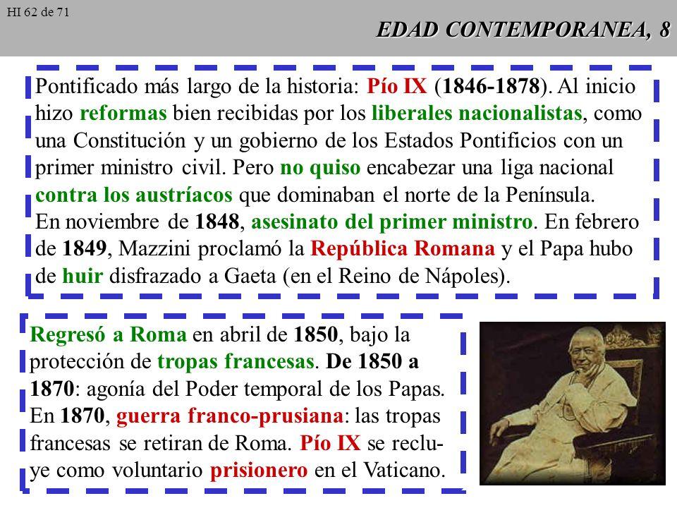 Pontificado más largo de la historia: Pío IX (1846-1878). Al inicio