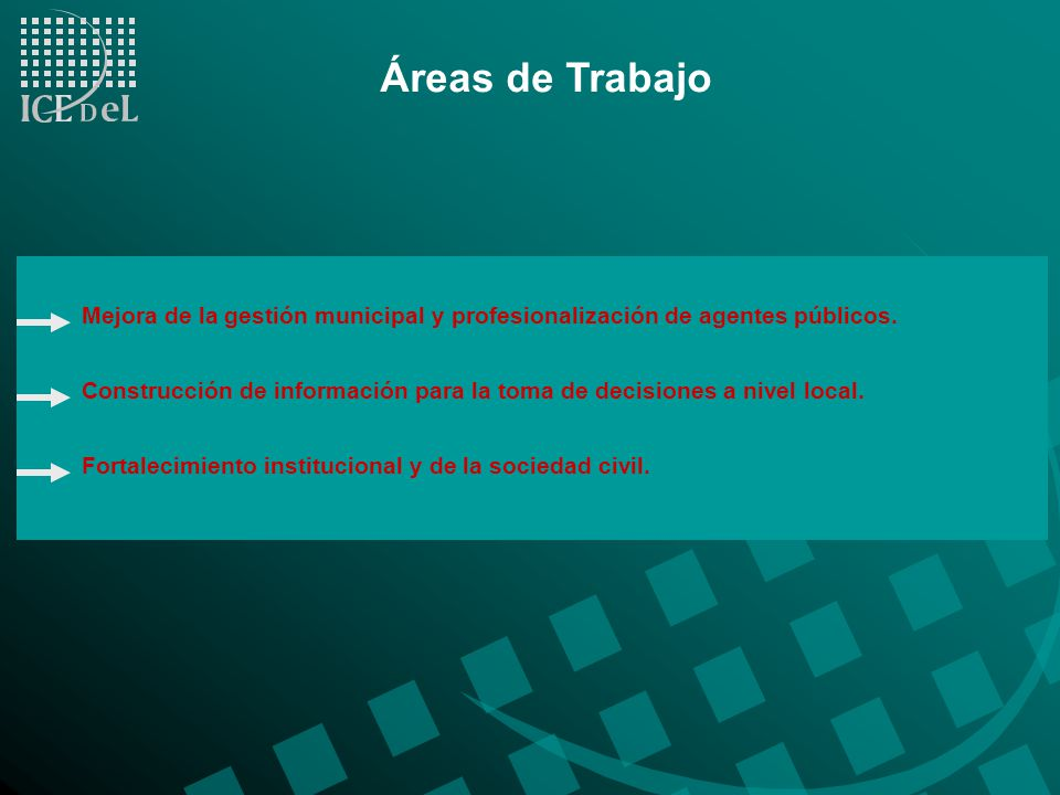 Áreas de Trabajo Mejora de la gestión municipal y profesionalización de agentes públicos.