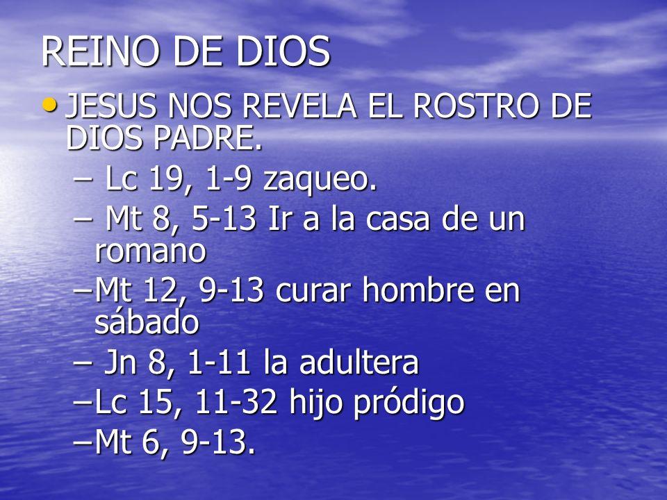 REINO DE DIOS JESUS NOS REVELA EL ROSTRO DE DIOS PADRE.