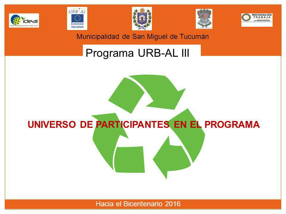 Programa URB-AL III UNIVERSO DE PARTICIPANTES EN EL PROGRAMA