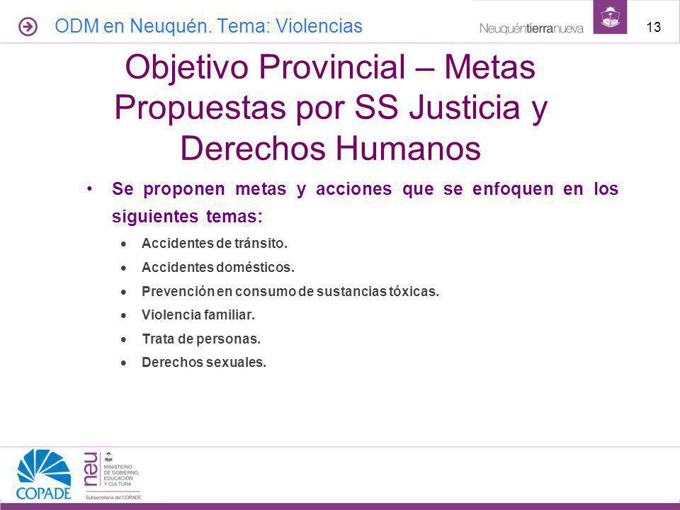 Red de Salud | UGS abril de 2017. ODM en Neuquén. Tema: Violencias. Objetivo Provincial – Metas Propuestas por SS Justicia y Derechos Humanos.