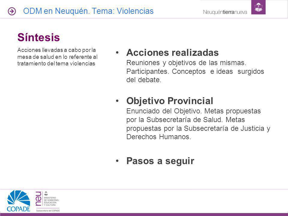 Red de Salud | UGS abril de 2017. ODM en Neuquén. Tema: Violencias. Síntesis.