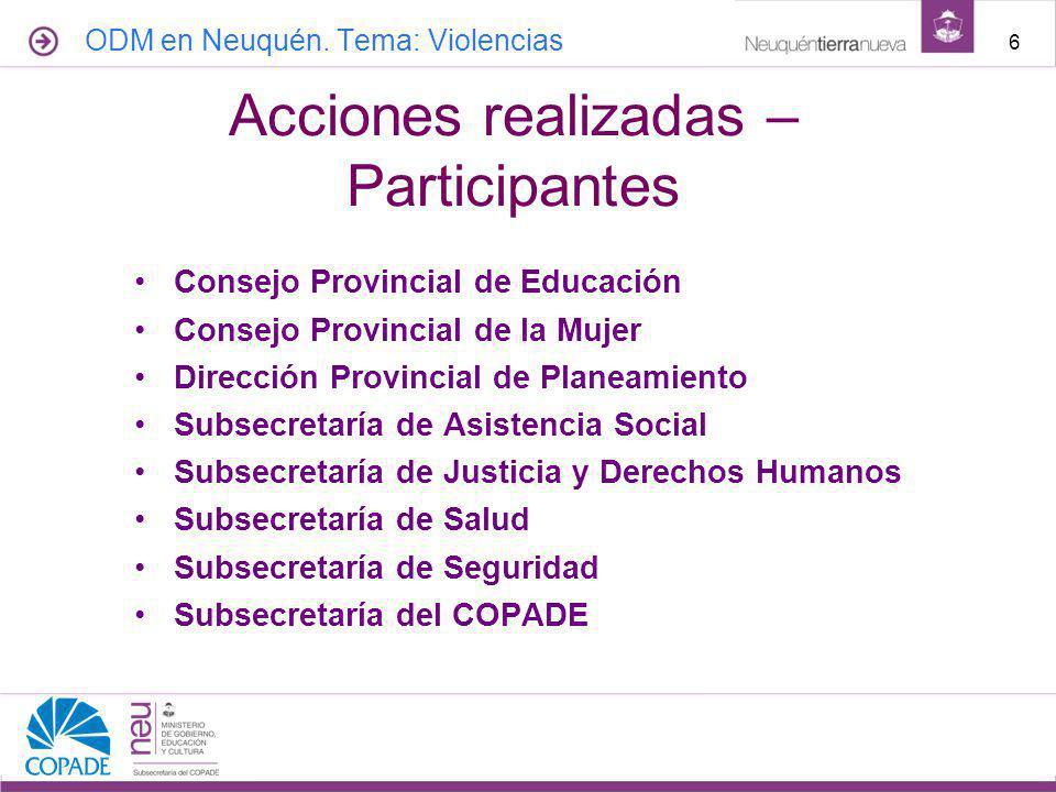 Acciones realizadas – Participantes
