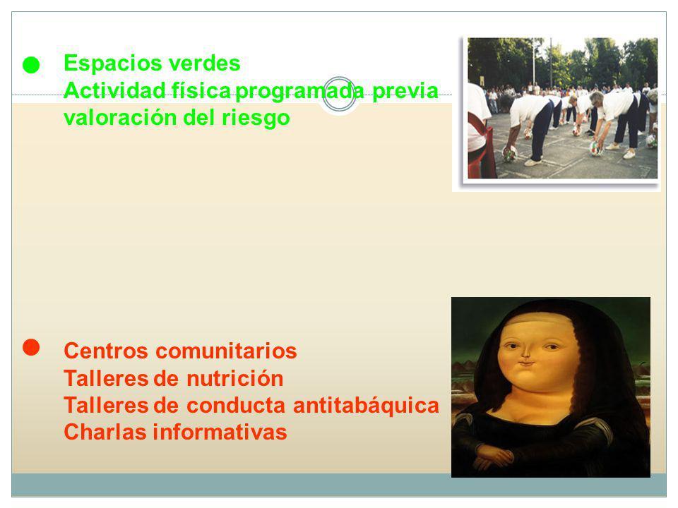 Espacios verdes Actividad física programada previa valoración del riesgo. Centros comunitarios. Talleres de nutrición.