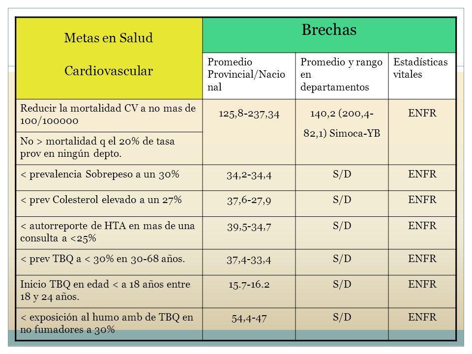 Brechas Metas en Salud Cardiovascular Promedio Provincial/Nacional
