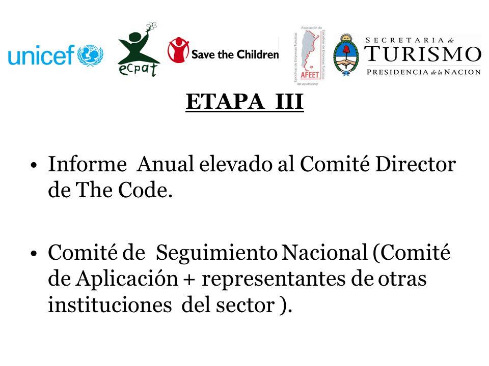 ETAPA III Informe Anual elevado al Comité Director de The Code.